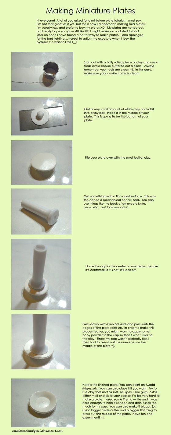 I have quite a few dollhouse dish tutorials now, but this one has some useful tips | Source:  deviantART