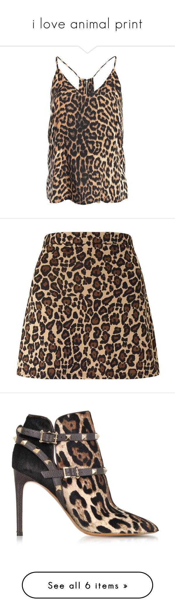 """""""i love animal print"""" by richell948 ❤ liked on Polyvore featuring tops, leopard, leopard print camisole, leopard camisole, leopard print cami, zipper top, leopard top, skirts, mini skirts and bottoms"""