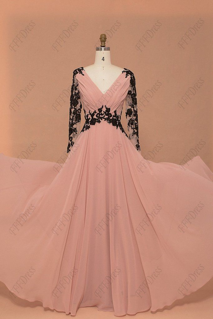 Blush modest prom dress long sleeves pageant dress with ...