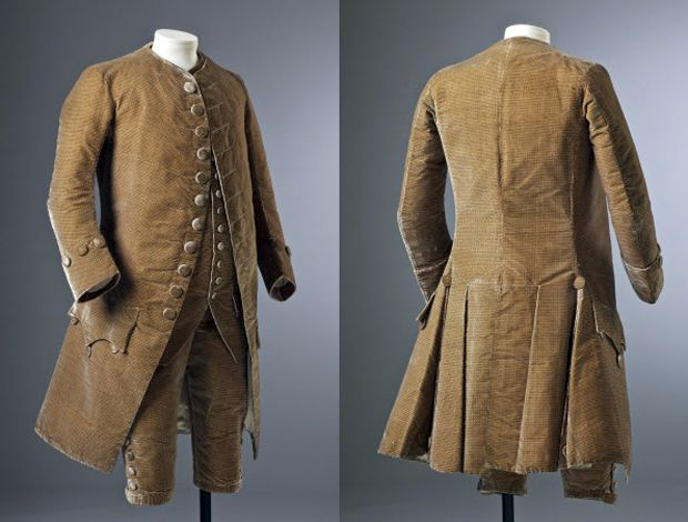 Three piece suit, c.1770, England, velvet. Ham House, Surrey Collection. National Trust. http://www.nationaltrustimages.org.uk/image/194067