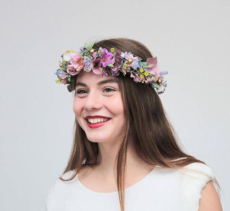 Couronne de fleurs lilas, violet floral casque, couronne de fleurs Boho, bandeau fleur mauve, mariée fleur couronne, bandeau de demoiselle d'honneur, postiche