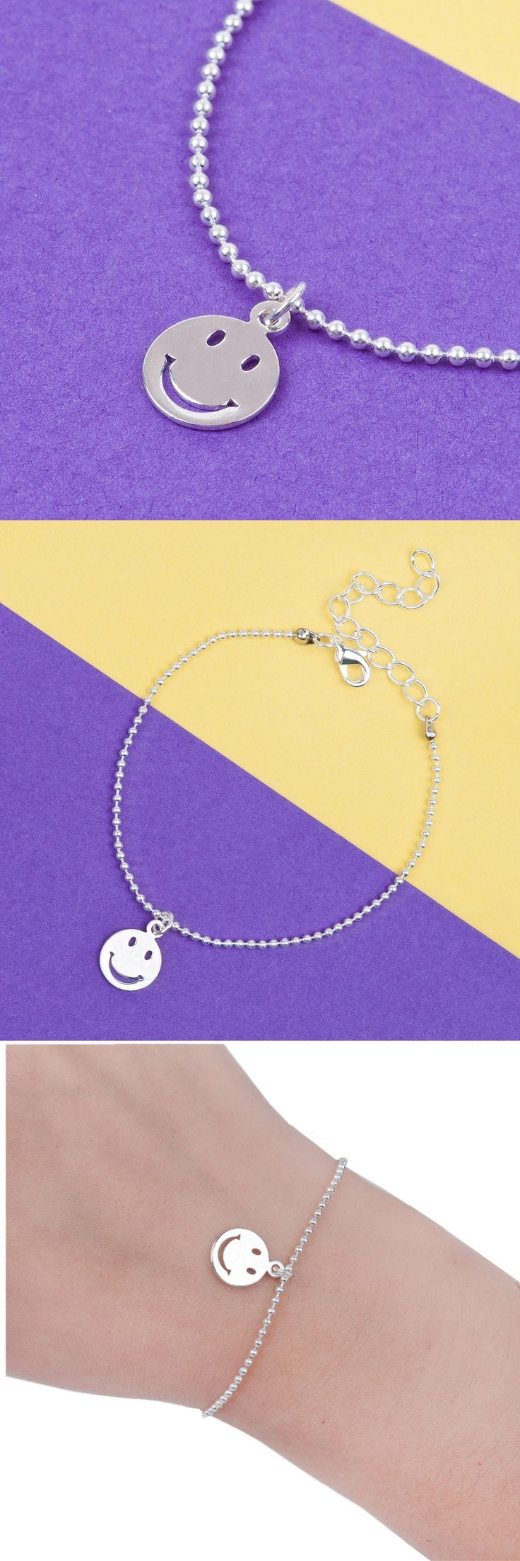 "8SEASONS Copper Bracelets Silver color Round Smiley Emoji Face Charms Ball Chain Lobster Clasp Extended Chain 16.5cm(6 4/8"")"