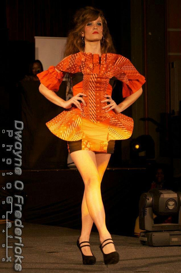 Bright orange african dress♡