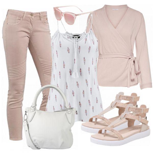 Tolles Frühjahrsoutfit aus rosa Jeans, einem weißen Top und schicker Sonnenbrille… #fashion #fashionista #fashionvictim #damenoutfit