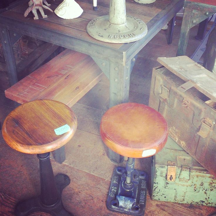 Industrial Reproduction Stools ~ #stools #industrial #home #decor *JoJo's Place www.jojosplace.com