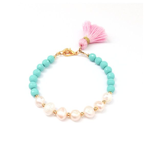 Pretty in Pearls Tassel Bracelet - Radiant Turquoise with a Pink Tassel