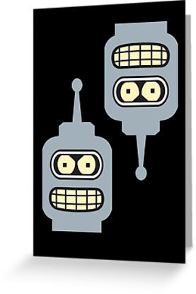 BENDER MINIFIGURE STICKERS X 2, by Chillee Wilson from Customize My Minifig by ChilleeW