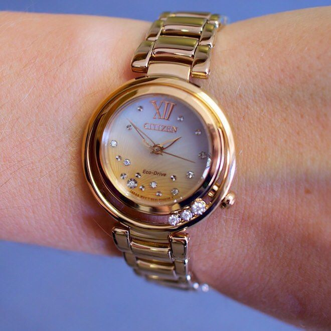 Sunset on your wrist! This #diamond studded Citizen watch makes us swoon    #doylestown #doylestownjeweler #buckscounty #buckscountyjeweler #citizenwatch #watch #sunrise #sunset