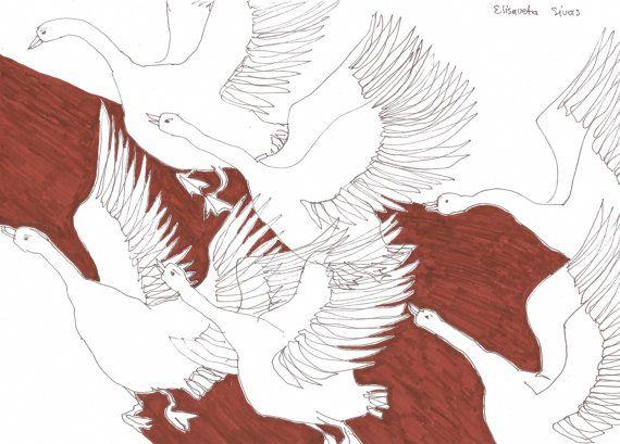 GEESE FLYING original pen drawings by Elisaveta Sivas // 7,9 x 11,8'