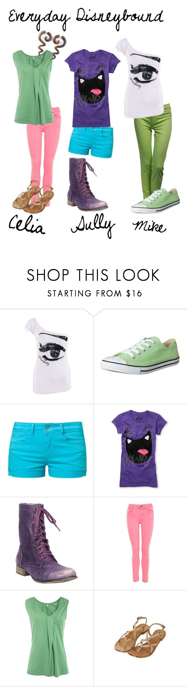 """""""Monsters Inc Summer"""" by totallytrue ❤ liked on Polyvore featuring Jane Norman, Miss Sixty, Converse, Le Temps Des Cerises, Steve Madden, A Wear, Kin by John Lewis, Topshop and monsters inc summer disneybound disney pixar mike celia sully"""