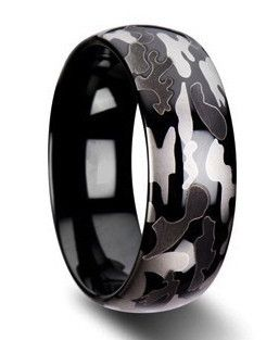 Black Opz | Men's unique camouflage wedding band.  This ring has an amazing appearance as it is laser etch with black & gray camo.  This tungsten carbide's band w