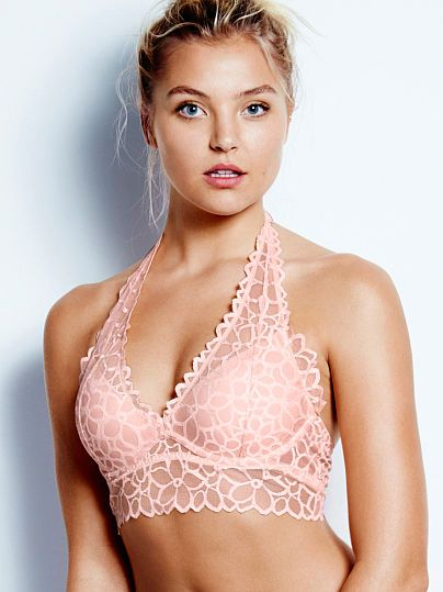 Floral Lace Halter Bralette - PINK - Victoria's Secret in Begonia Pink, White, Black, and Misty Lilac.