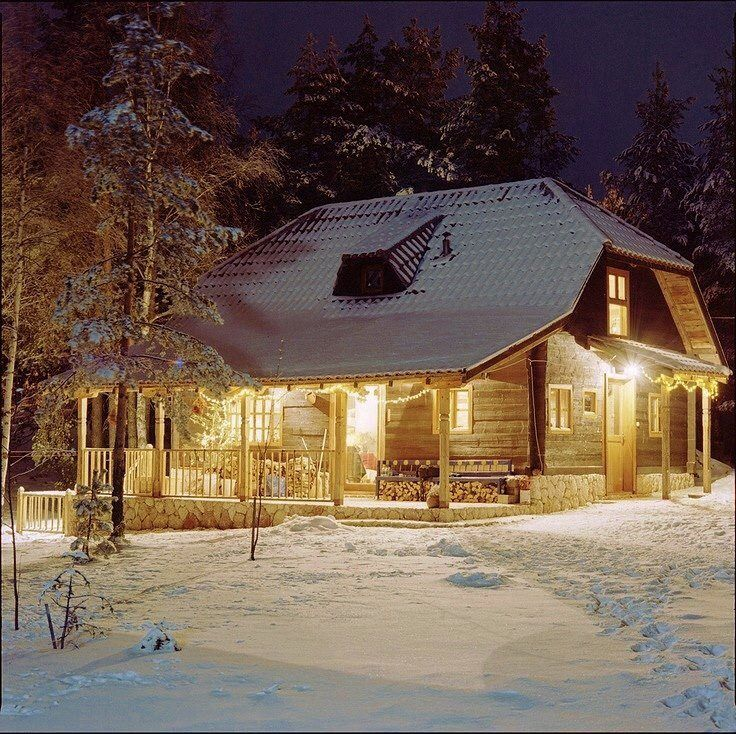 Beautiful Snowy Log Cabin Log Cabins Pinterest My Heart