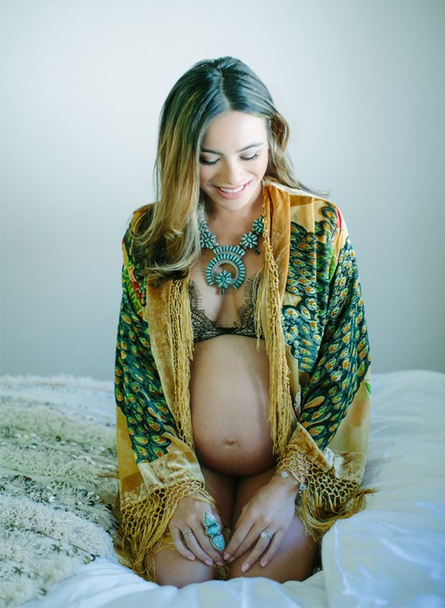 a gorgeous bohemian kimono accented with turquoise jewelry
