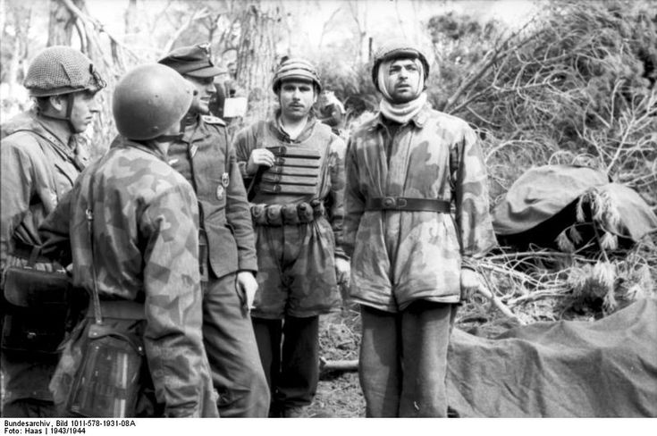 German paratroopers in a forest at Monte Cassino,