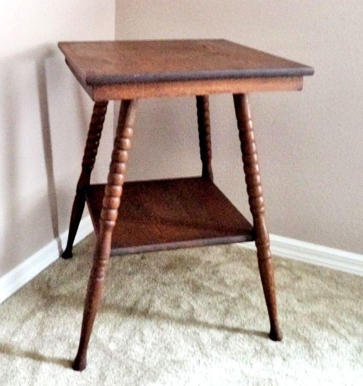 Antique Vintage Oak Wood 2 Tier Lamp Parlor Side Table