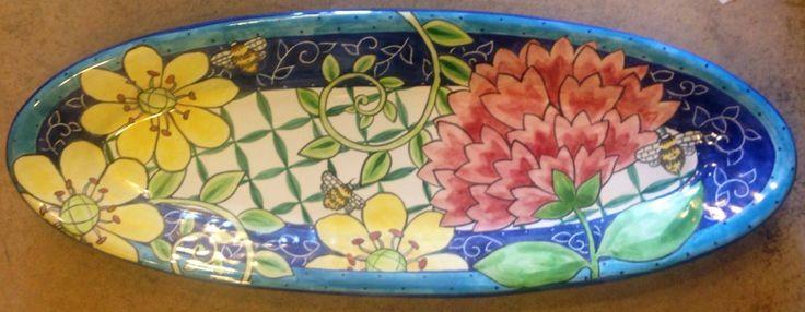 Damariscotta Pottery platter painted by juliana