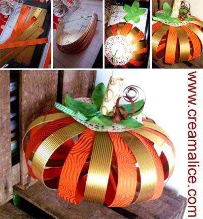 ☠ ✄ Déco Citrouille en papier / DIY Halloween Paper Pumpkins ✄ ☠ www.creamalice.com