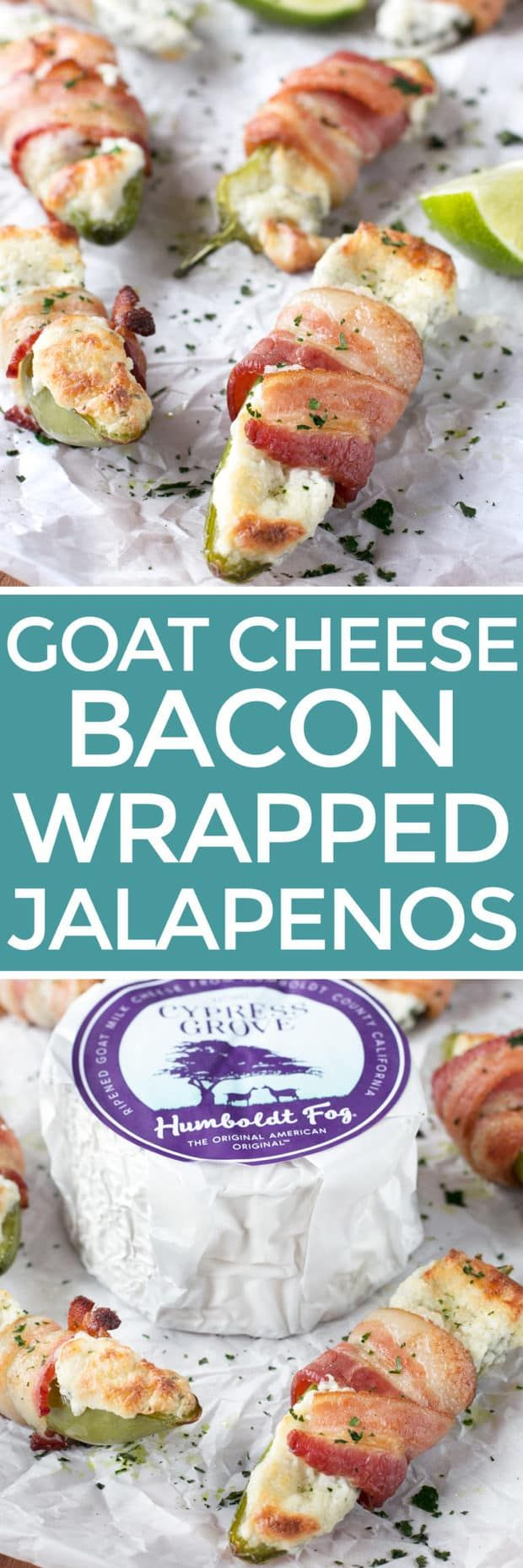 Goat Cheese Stuffed Bacon Wrapped Jalapeños | cakenknife.com #sponsored #goatcheese #tailgating
