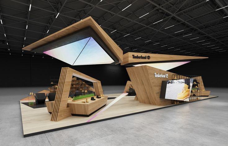Design concept of exhibition stand for Timberland | 200 sq.m 4 sides open.USA, Los Angeles, Design by GM stand design, Designer: Roman Geviuk