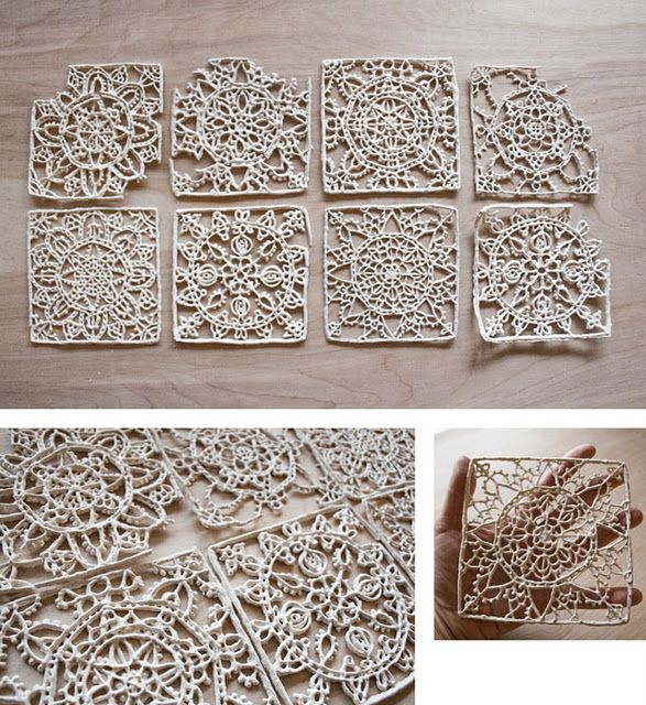 Ceramic lace: Ceramics Ideas Wall, Ceramic Pottery, Ceramics Tile Ideas, Ceramics Lace, Beautiful Ceramics, Art Ceramics, Lace Ceramics, Clay Tile, Ceramics Coasters