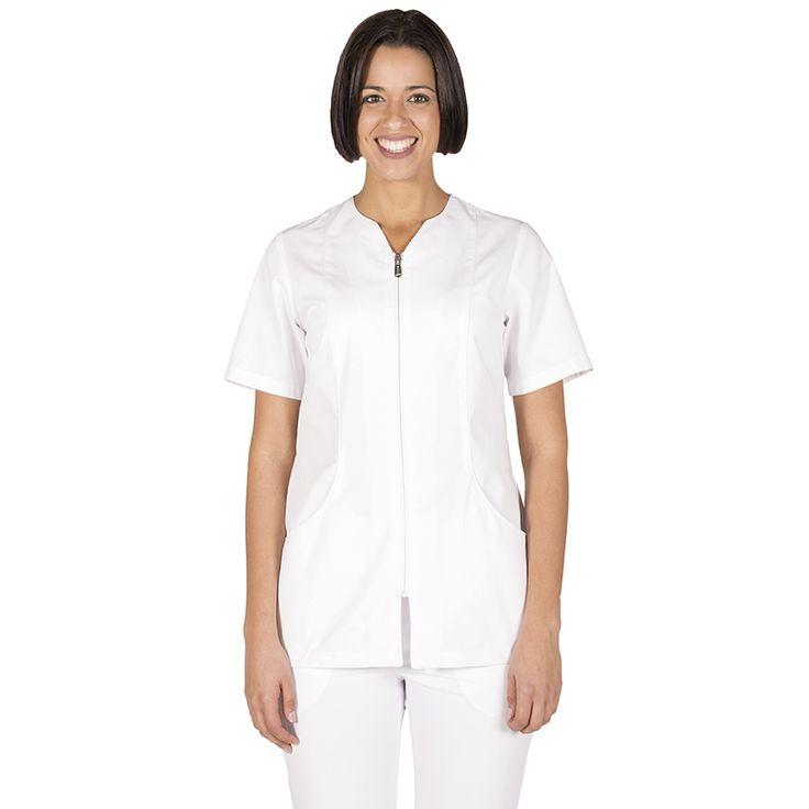 6235 blusa de mujer con cremallera y manga corta en color blanco