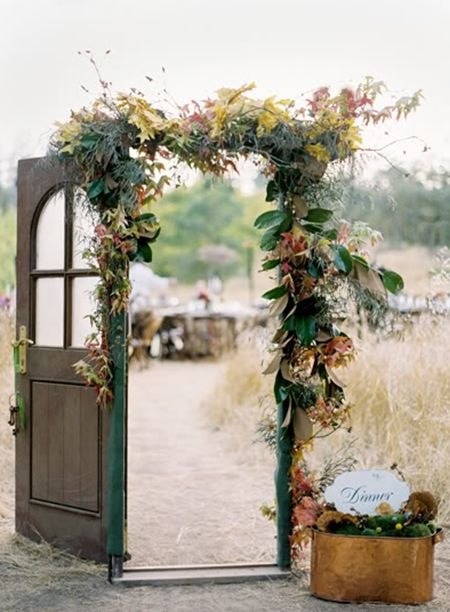 Using an antique door for an outdoor wedding. Save it to style in your home afterwards