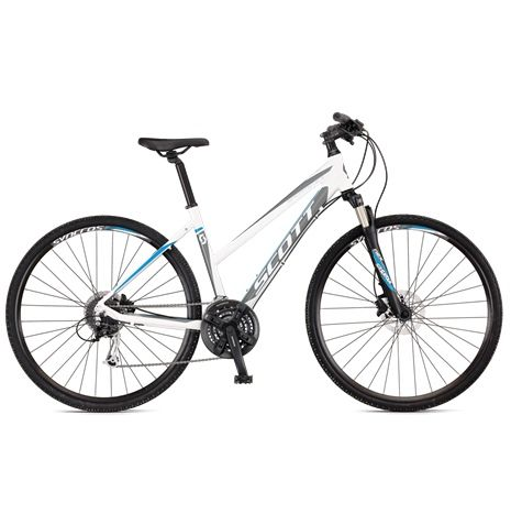 Scott Sportster 45 Dam erbjuder praktisk cykelglädje till och från jobbet, men fungerar även alldeles utmärkt på kvällens träningsrunda. Riktigt prisvärd allroundcyklar som inte cyklar varje dag.