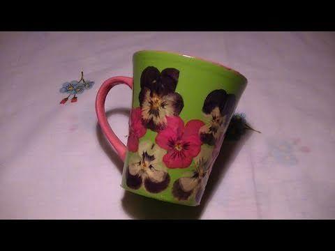 Tutorial: Decorazione di una tazza in ceramica con fiori secchi e vetrificazione - YouTube