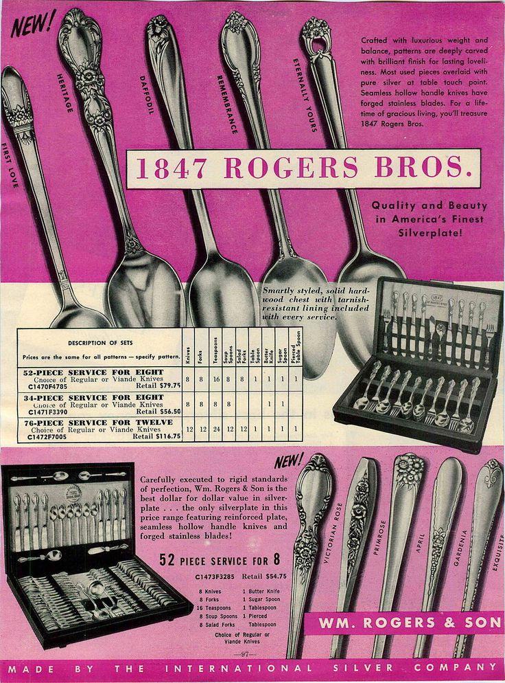 1955 Ad 1847 Rogers Bros Flatware Silverware First Love