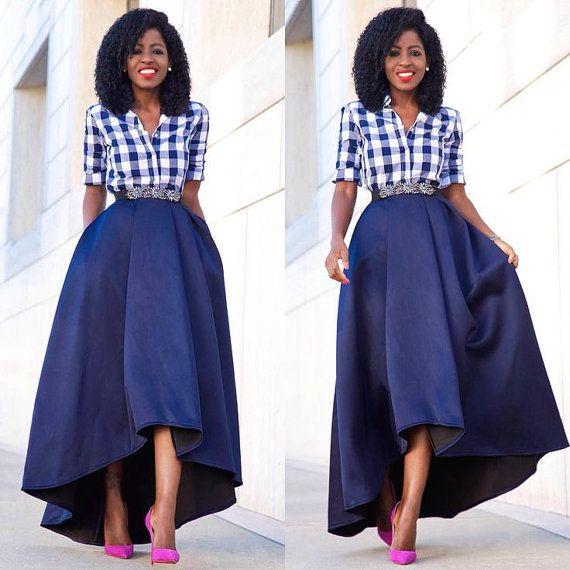 High Low Skirt/ Circle Skirt/ Flare Skirt by AdinkraExpo on Etsy