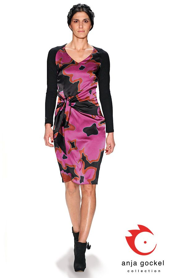 Silk satin dress with long black jersey sleeves