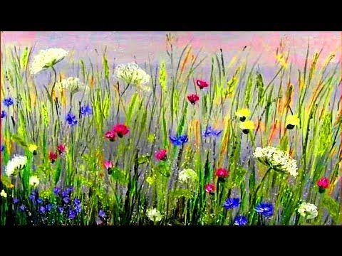 Pintura muy fácil - paisaje con flores salvaje. Paso a paso pintar al óleo o Acrílicos - YouTube