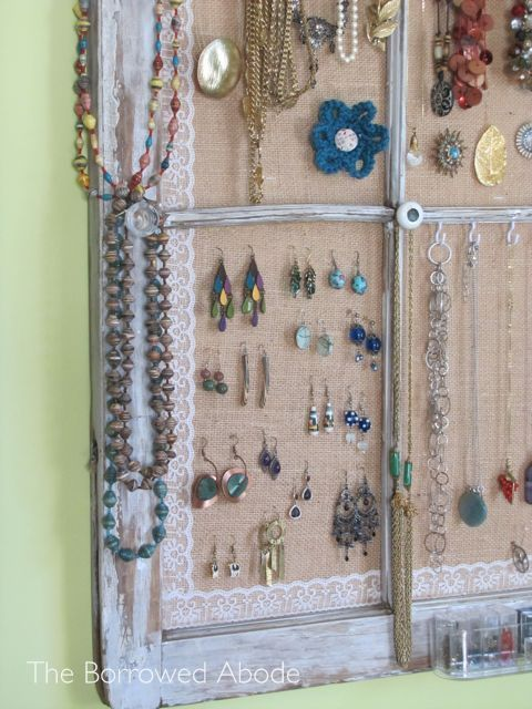 My New & Improved Window Frame Jewelry Storage & Display! | The Borrowed Abode: Adventures in decorating a rental home.