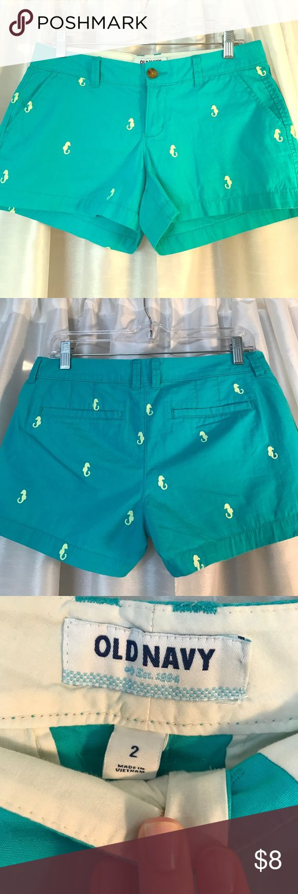 Preppy Teal Shorts with Seahorses So preppy and cute! Teal Shorts with lime green embroidered sea horses from Old Navy. Great condition. Old Navy Shorts