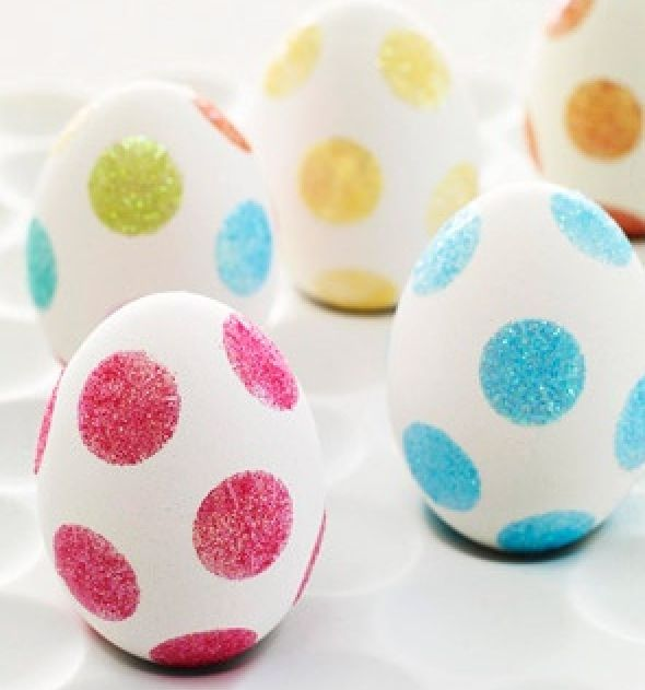 Attach double-sided tape dots to your eggs and roll in glitter..simple, less messy way to make very cool Easter eggs!