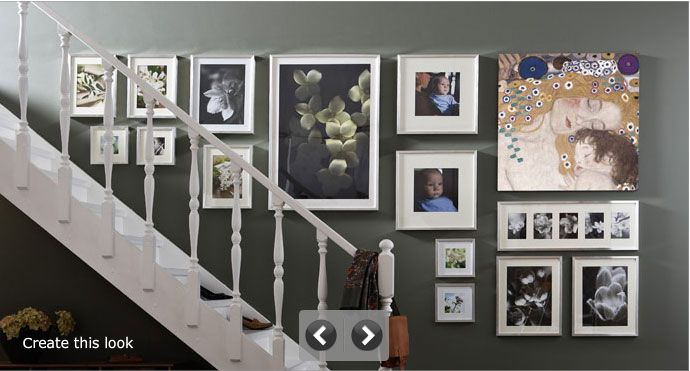 Colour for the bedroom?: Decor, Ideas, Photo Display, Stairs, Photo Wall, Frames Arrangements, Frames Wall, Pictures Frames, Ikea