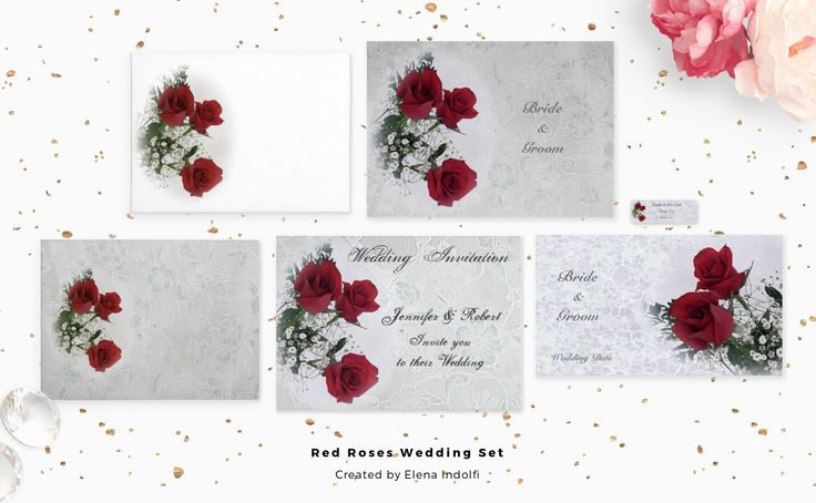 Beautiful red roses bouquet in blur effect make romantic this elegant Wedding set .Text ,font,size and colorare totally customizable as well you prefer. #Zazzle Red Roses Wedding Set
