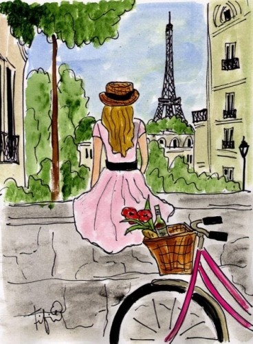 """Bicycle Touring Paris"" Painting by Fifi Flowers - traditional - artwork - Etsy (For Erin's Paris  Theme Room)"