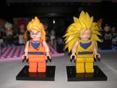 ssj3 goku comparison (teamfourstud) Tags: 3 ball 3d dragon lego super printing z custom dragonballz bootleg haul goku saiyan dbz ssj ssj3 bragonball shapeways decool