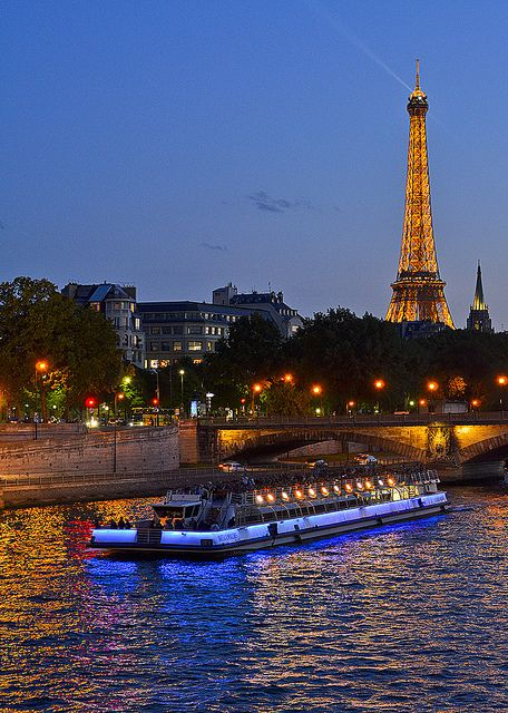 Eiffel Tower and Seine River, Paris- I went on a cruise down here at night.  Breath taking.