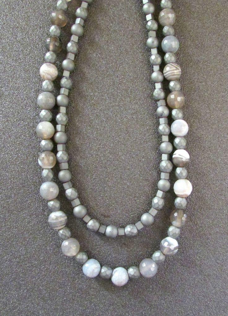 Gemstones Necklace, Hematite Labradorite, Layerd Earthy Women Jewellery