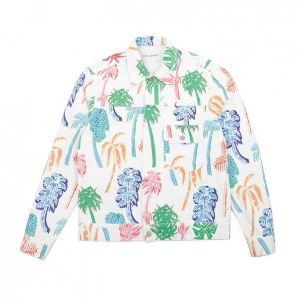 Our Legacy HZ Graffiti Palms Jean Jacket (White) (42150 RSD) ❤ liked on Polyvore featuring men's fashion, men's clothing, men's outerwear, men's jackets, mens white jacket, mens leopard print jacket, mens white denim jacket and mens zip up jacket