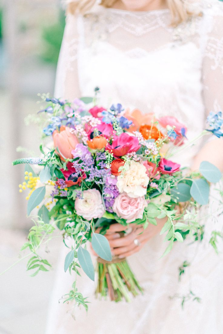 Brightly Coloured Bouquet | Healey Barn Winter Wedding With Bridesmaids In Navy With Bright Florals & Gold Accents With Images By Sarah Jane Ethan Photography