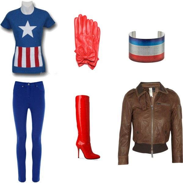 Female Captain America, created by marialuisa7 on Polyvore