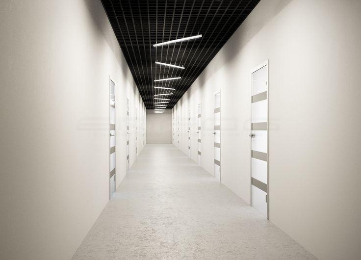 #Подвесной #линейный #светильник NIMBUS освещая коридорное пространство современного офиса. #pendant #light #interior #led #светодиодноеосвещение #ENFOG