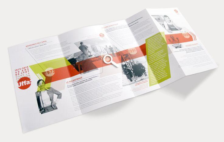 Création de la plaquette institutionnelle pour les 40 ans de l'UFFA CFDT (voir sur le site les autres images)