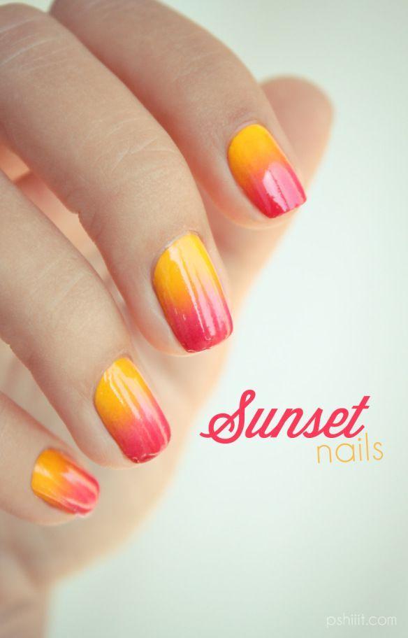 Gradient nail art: three colors colours: yellow (Konad), orange-pink (Peggy Sage Ethnik Pink), pink-red (Revlon) #sunset design #summer #spring