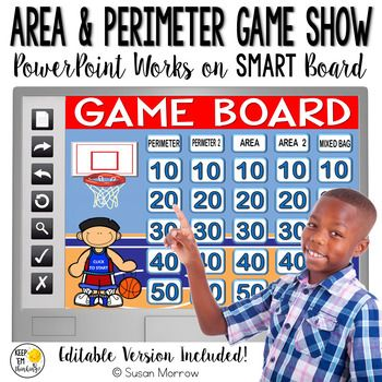 AREA AND PERIMETER GAME SHOW: AREA AND PERIMETER POWERPOINT GAME SHOW - Use this 50+ page resource to help your 2nd, 3rd, or 4th grade classroom or home school students. This game is great for test prep, review, centers, stations, and more. This interactive activity is a great way to utilize technology through your Interactive Whiteboard. Click through for details! {second, third, fourth graders}
