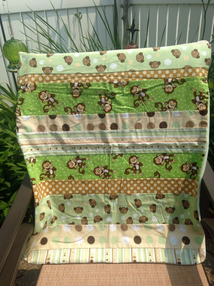 Baby Receiving Blanket Green U0026 Brown Monkeys Stripes Polka Dots Stroller  Car Seat Blanket Flannel
